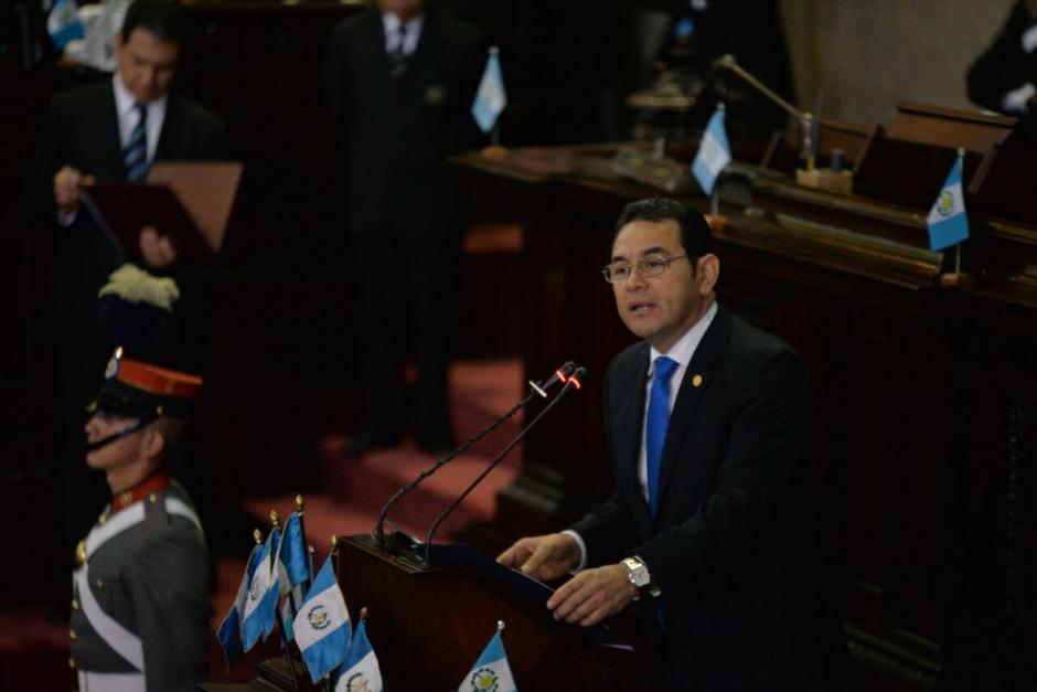 El presidente habló por cerca de 14 minutos. (Foto: Wilder López/Soy502)