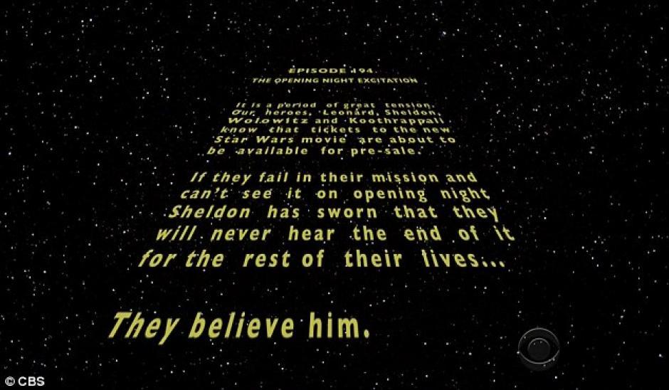 Al estilo de Star Wars, el capítulo inicia así.(Foto: Daily Mail)