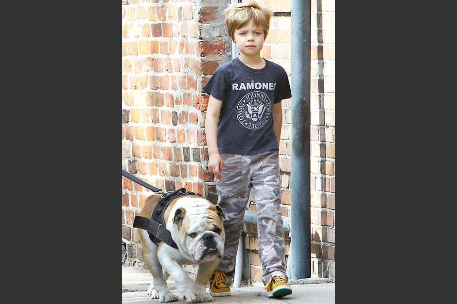 Imagen de Shiloh. Jolie Pitt paseando con su perro
