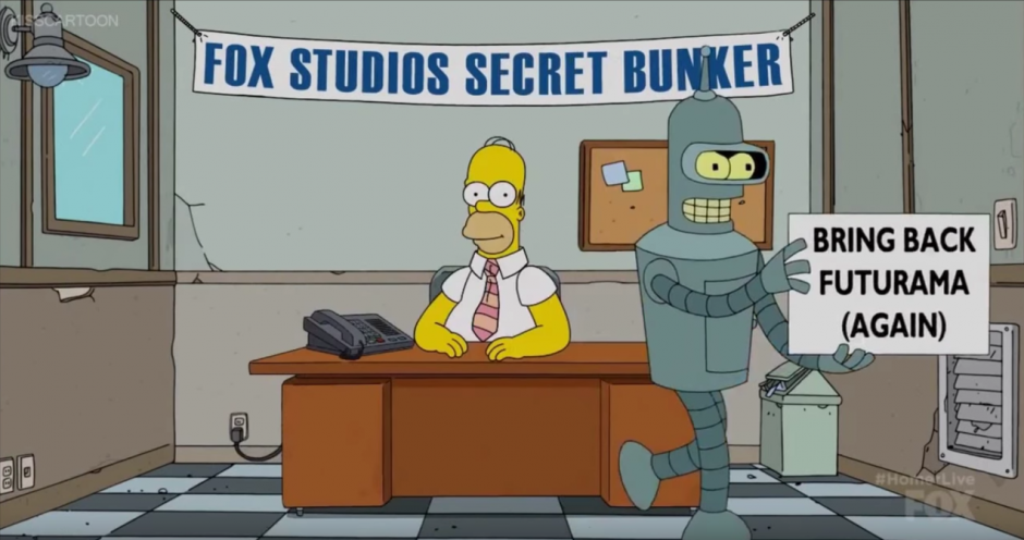 Bender pide que regrese el programa Futurama. (Captura de pantalla: Phil Crow/Youtube)