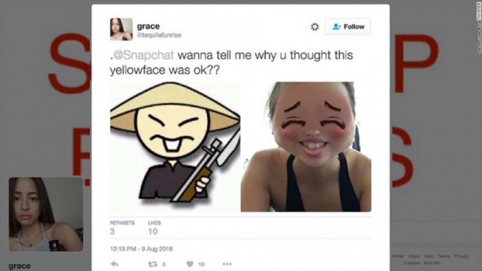 Un portavoz de la compañía dijo que se trataba de un filtro para que las personas se parecieran a un animé. (Foto: Twitter)