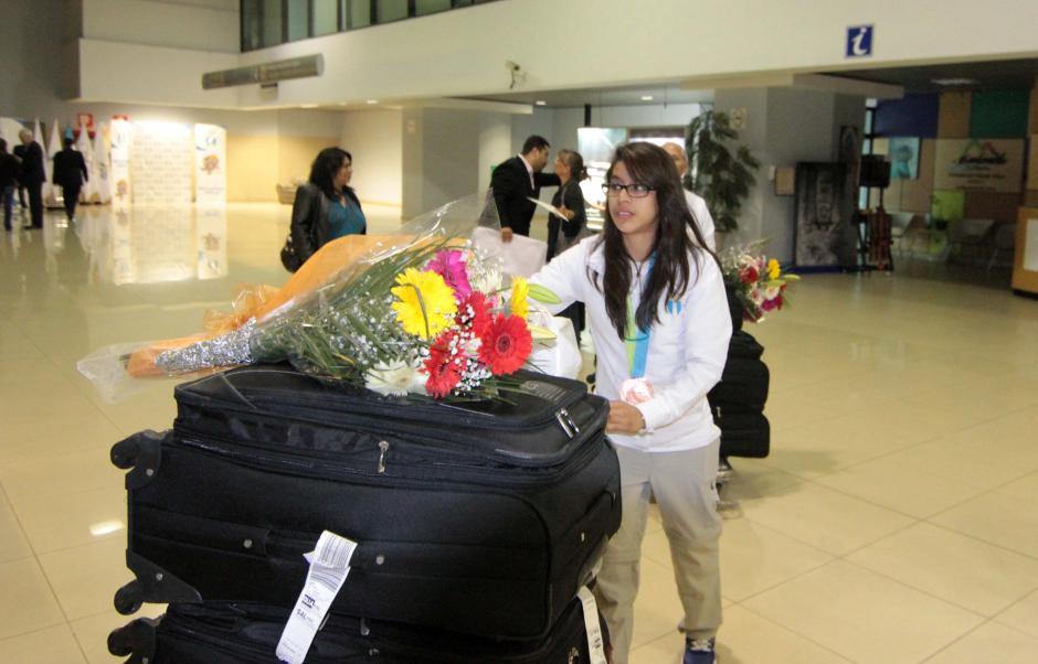La gimnasta nacional Ana Sofía Gómez regresó a Guatemala, tras ganar la medalla de bronce en los Juegos Panamericanos. (Foto: Luis Barrios/Soy502)