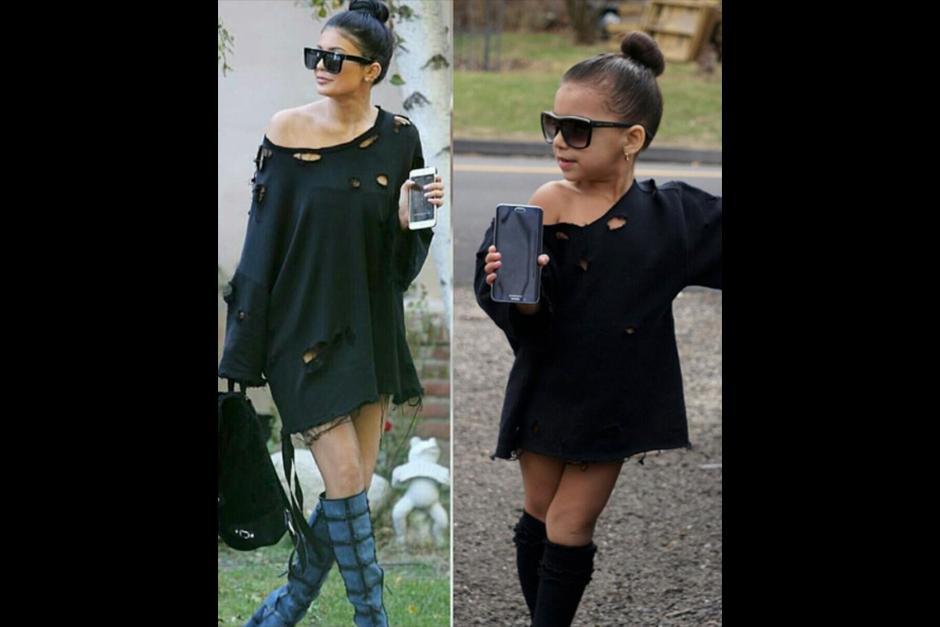 La pequeña Sophia imita el estilo de las hermanas Jenner. (Foto: Instagram)