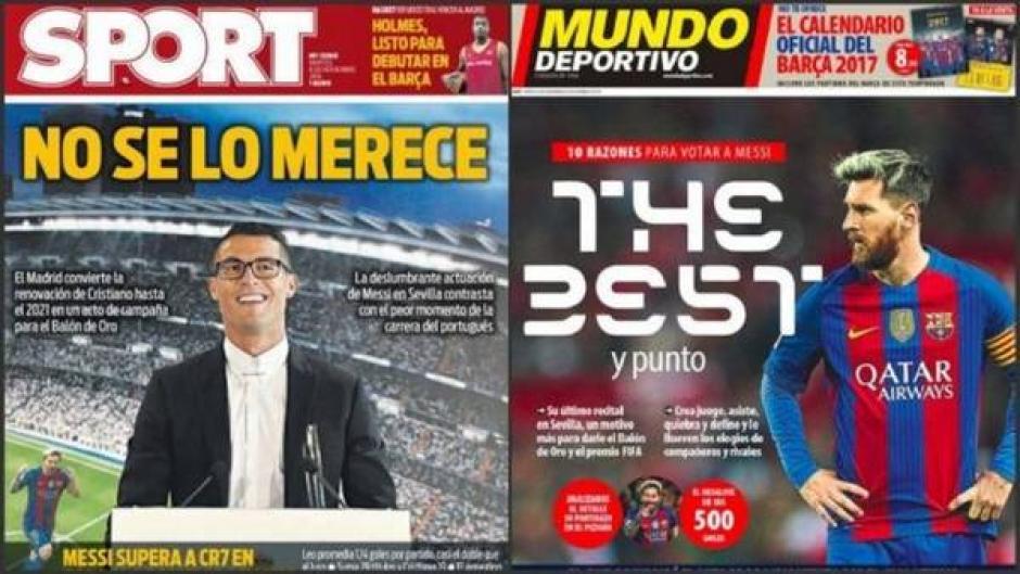 Las portadas de Sport y Mundo Deportivo contra CR7 y en favor de Messi. (Foto: Twitter)