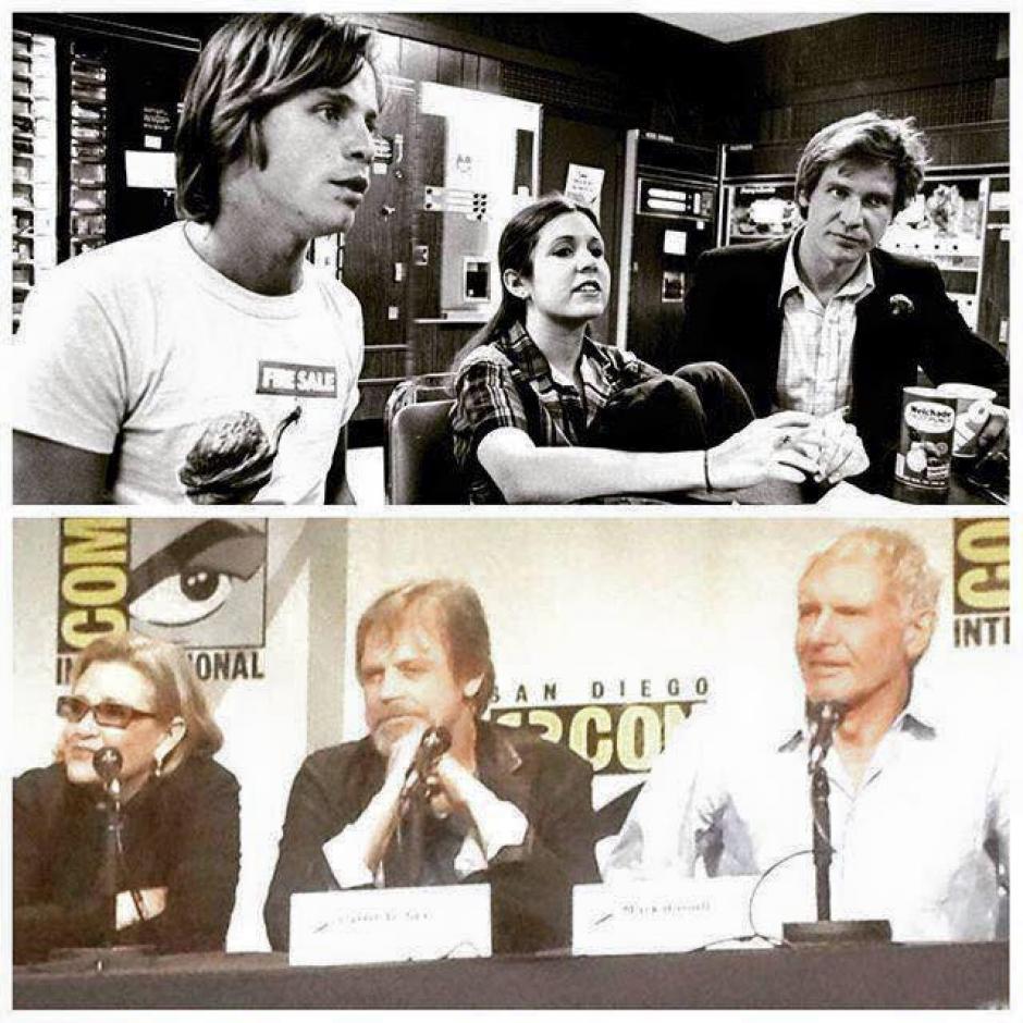 Así se veían cuando filmaron la película original y así se ven ahora Carrie Fisher, Mark Hamill y Harrison Ford. (Foto: El Comercio)