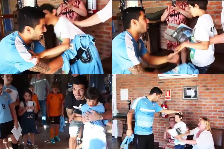 Imágenes del encuentro de Suárez con el pequeño Aarón. (Imagen: capturas de pantalla)