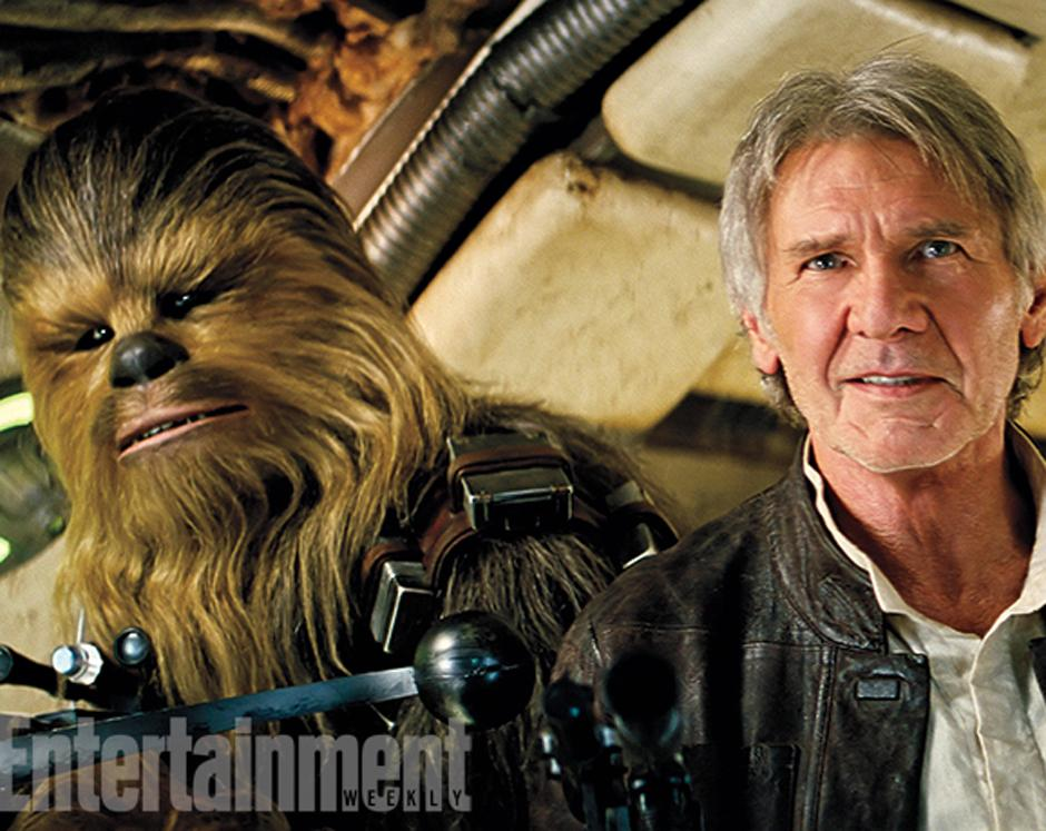 Chewbacca y Harrison Ford. (Foto Entertainment Weekly)