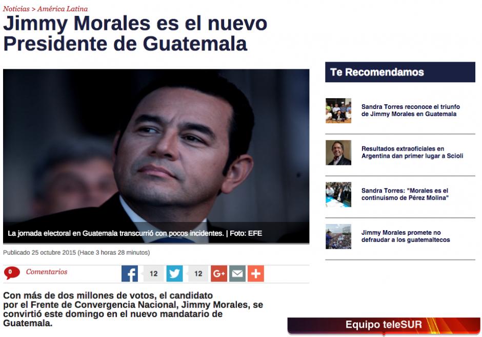 En Sudamérica, los titulares también son acaparados por la victoria de Jimmy Morales.