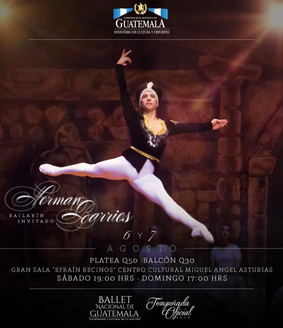 El bailarín Norman Barrios es invitado especial en estas presentaciones. (Foto: Ballet Guatemala)