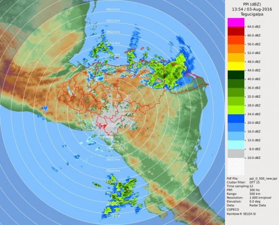 El radar meteorológico de Honduras muestra intensas lluvias en el nororiente de ese país. (Foto: @ClimaenGuate)