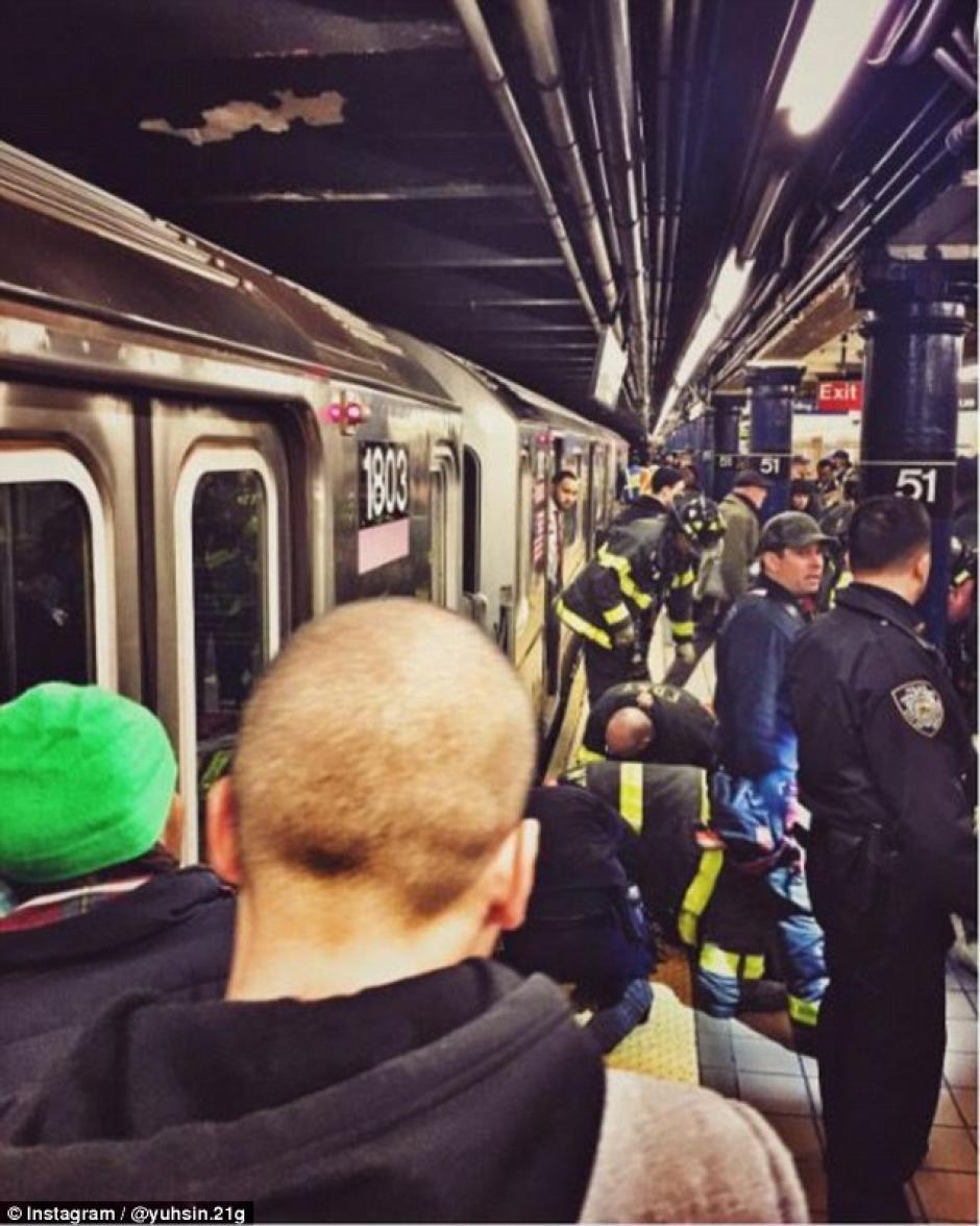 Los cuerpos de socorro trabajan para rescatar a Sophie en la estación del metro. (Foto: scallywagandvagabond.com)