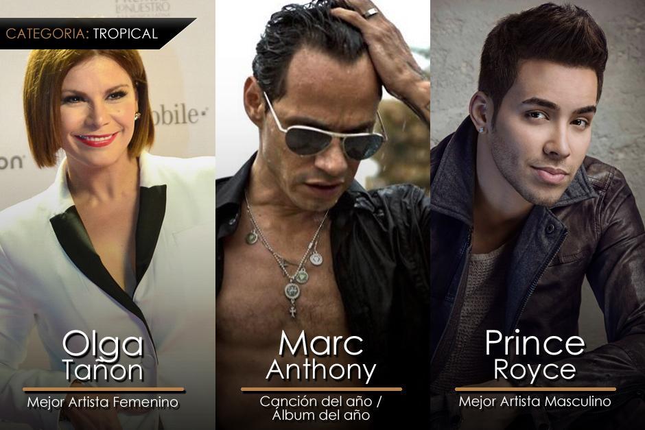 Estos son los ganadores de la categoría Tropical en los Premios Lo Nuestro. (Imagen: Gerardo Calderón/Soy205)