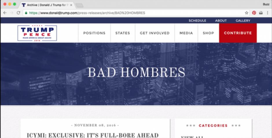 """""""Hombres malos"""", la despectiva expresión de Donald Trump sobre los mexicanos fue uno de los textos que los hackers pusieron en el header del sitio de Trump. (Imagen: captura de pantalla)"""