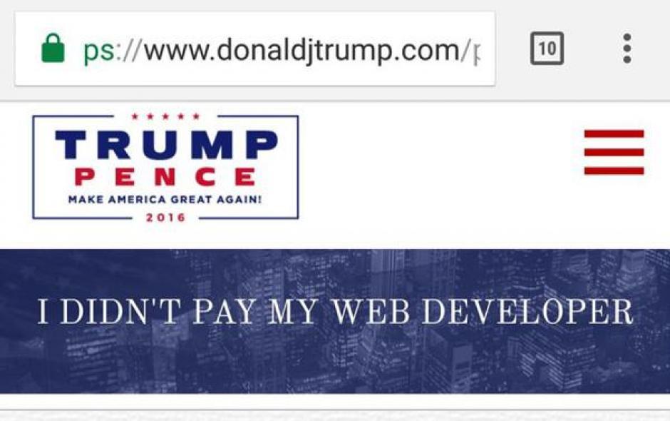"""""""No le pagué a mi diseñador web"""" fue una de las frases más compartidas en las redes tras el hackeo. (Imagen: captura de pantalla)"""