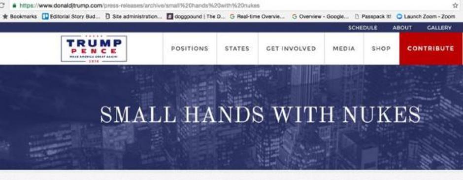 """""""Pequeñas manos con misiles"""", dice el texto en la página web de Trump. (Imagen: captura de pantalla)"""