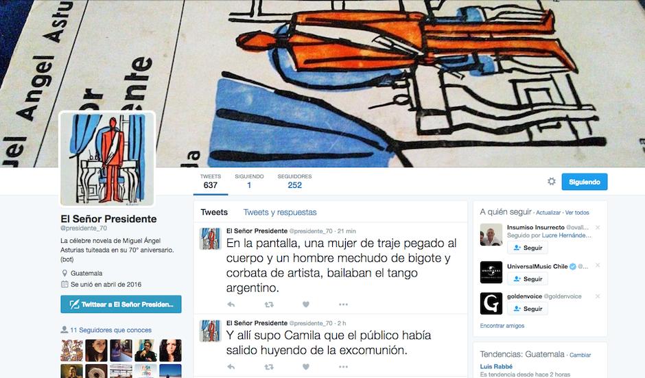 """""""El Señor Presidente"""" de Miguel Ángel Asturias se transforma en tuits. (Foto: Twitter/El señor presidente)"""