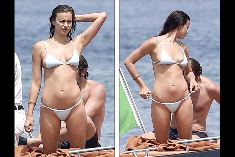 Irina lució un traje de baño blanco donde dejó ver sus curvas. (Foto: dailymail)