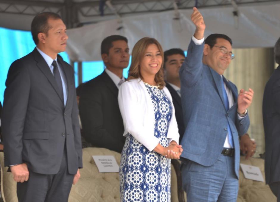 El presidente Morales disfrutó de la actividad pese al escándalo de corrupción que involucra a su familia.  (Foto: Jesús Alfonso/Soy502)