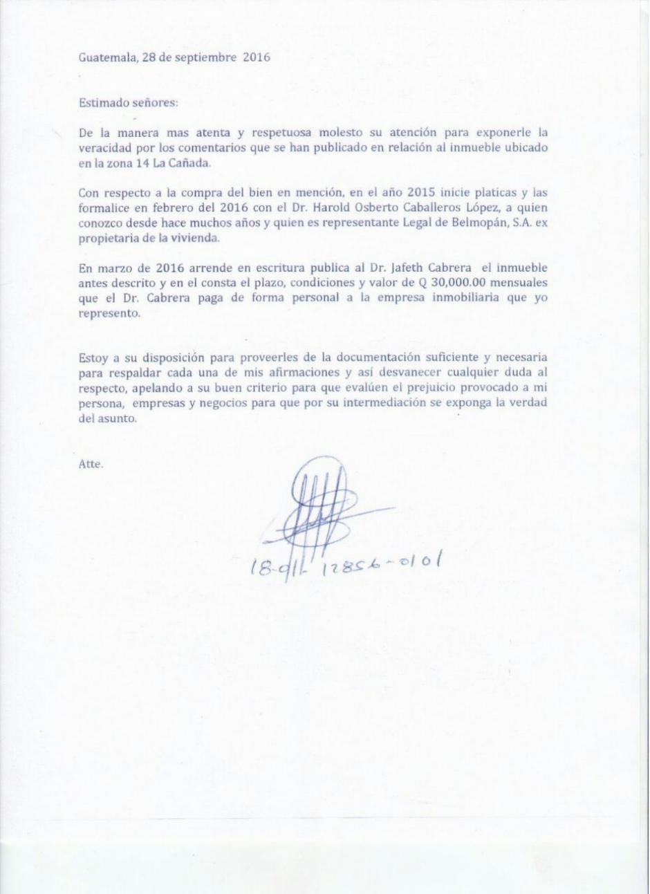 Con esta carta, la Vicepresidencia justifica la vivienda de Jafeth Cabrera.