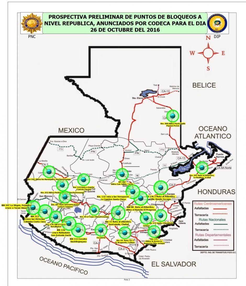 Mapa de los puntos que se prevé sean bloqueados. (Foto: PNC)