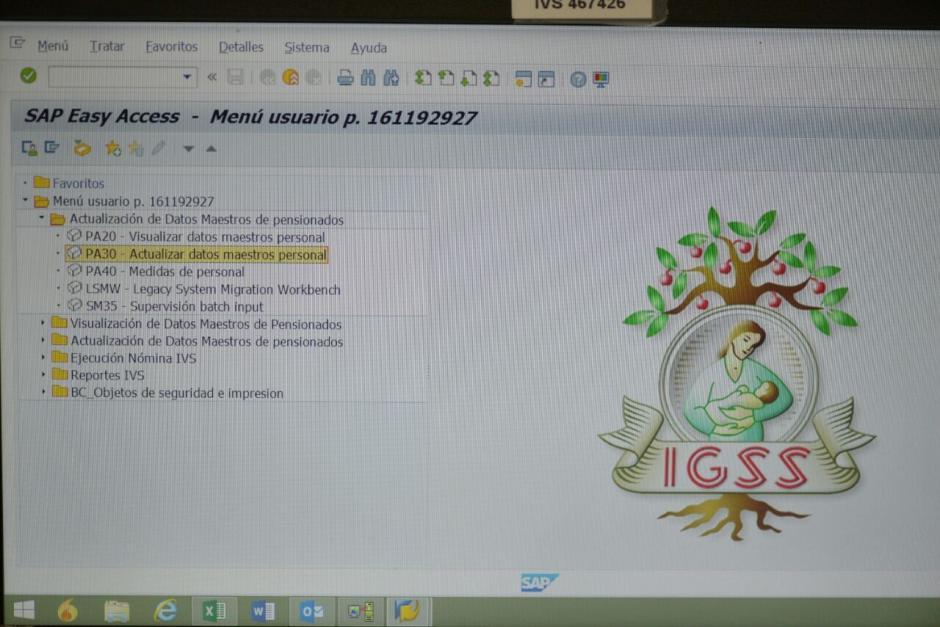 Este es el menú de inicio del sistema SAP que será implementado en todo el IGSS. (Foto: Wilder López/Soy502)