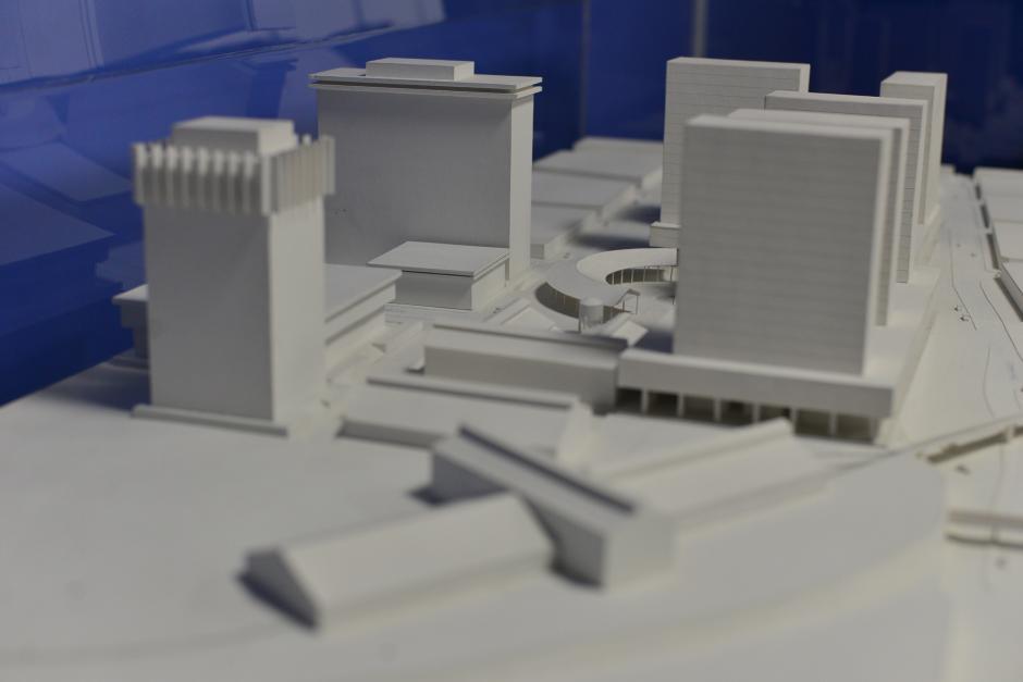 Maqueta que simula cómo quedaría el proyecto en el predio de Fegua. (Foto: Wilder López/Soy502)