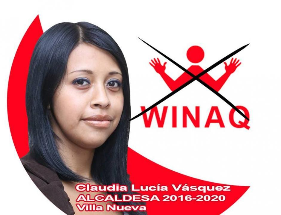 Claudia Lucía Vásquez es la única mujer que compite por la alcaldía de Villa Nueva. Se unió a la alianza Winaq-URNG-Maíz. (Foto: Facebook Winaq)