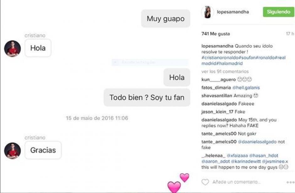 Una captura de pantalla de los mensajes de Cristiano Ronaldo a Amandha Lopes. (Foto: infobae.com)