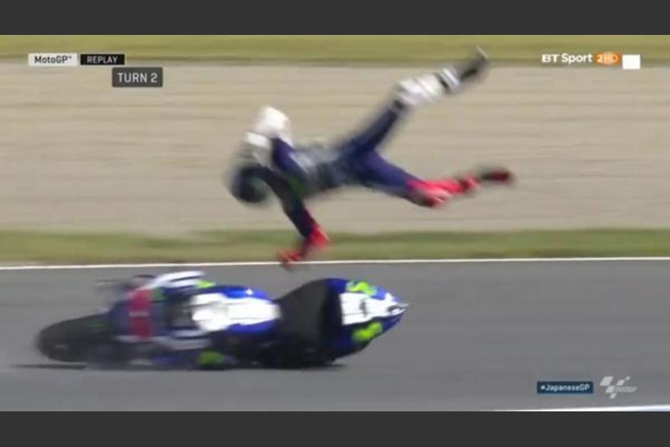 Jorge Lorenzo salió disparado por los aires en los entrenamientos del circuito de Japón. (Foto: Infobae)