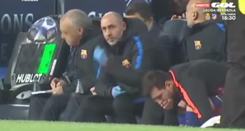 Lo que no se vio de Messi en la banca en el partido de Champions