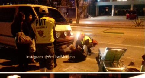 Extraño accidente deja a dos hombres heridos en la zona 9