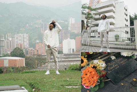 Wiz Khalifa rinde honores en la tumba de narcotraficante Pablo Escobar