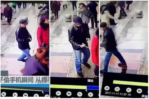 Habilidoso ladrón roba un celular sin que la dueña se dé cuenta