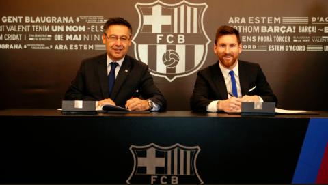 Lionel Messi renueva con el Barcelona hasta el 2021