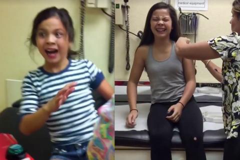 La reacción de una niña ante las inyecciones de nuevo es viral