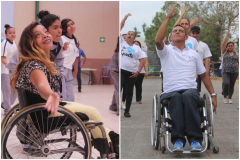 Así enseñan a bailar desde su silla de ruedas Dora y Víctor