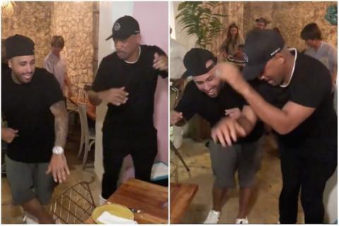 Nicky Jam le enseña a bailar a Will Smith en Colombia
