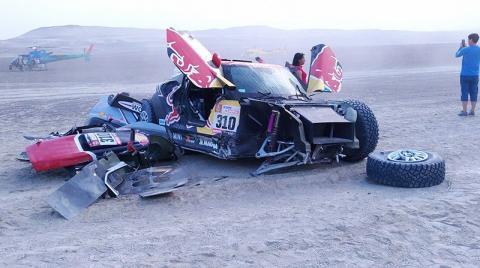 ¡Impresionante! Así fue el terrible accidente en el Rally Dakar 2018