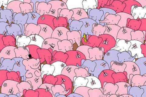 Reto visual: encuentra el corazón entre los elefantes