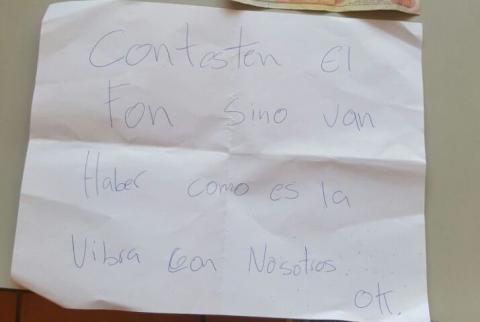 La curiosa nota de un extorsionista que pretendía cobrar Q10 mil