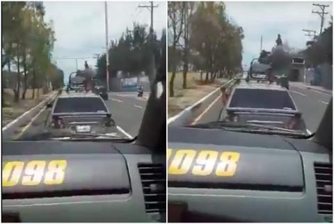 #Video Conductor niega a darle paso a patrulla en la Atanasio Tzul