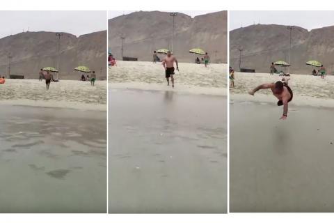 Un doloroso clavado en la playa se vuelve viral en redes