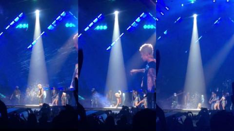 ¡Le volvió a pasar! Justin Bieber se cae otra vez durante un concierto