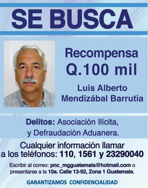 Recompensa de Q100 mil no es suficiente para atrapar a Luis Mendizábal