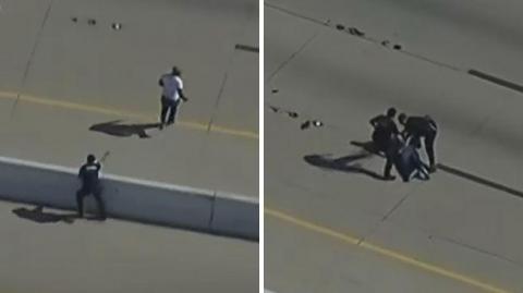 ¡Impresionante! Hombre cae electrocutado en persecución policial