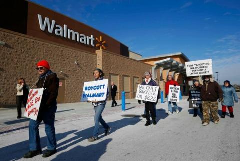 Continúan protestas de los trabajadores de Walmart
