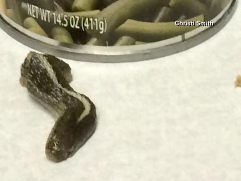 Mujer encuentra la cabeza de una serpiente en una lata de comida