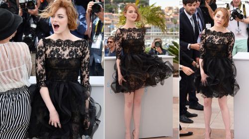 Emma Stone fue víctima de los fuertes vientos franceses durante el Festival de Cannes