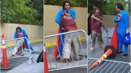 """Superman"" da tremenda golpiza a indigente que agredió a ""Batman"""