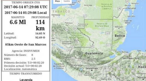 Fuerte temblor despierta a los guatemaltecos